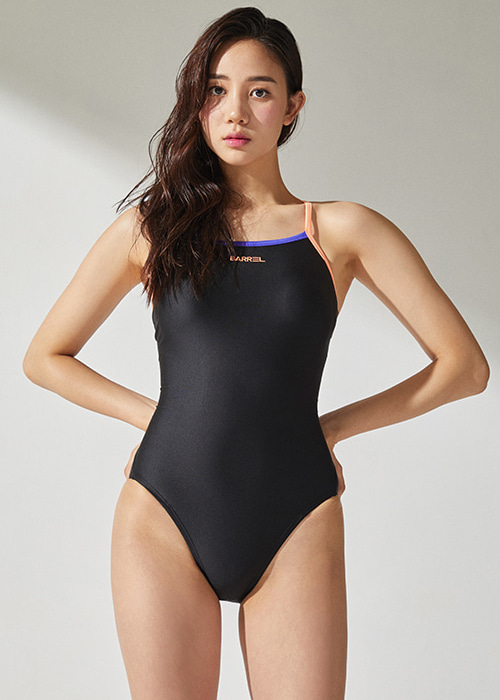 [5%쿠폰]배럴 우먼 레이싱 핏 V 백 스트랩 스윔슈트 BARREL WMS RACING FIT V BACKSTRAP SWIMSUIT_BWHWSWO016_BLACK/PEACH_NB6884PE