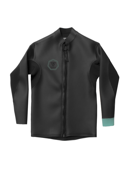 비슬라 남성 웻슈트 자켓/타파 2mm #NVS80373 / BLACK WITH JADE VISSLA NORTH SEAS SMOOTHY FRONT ZIP JACKET