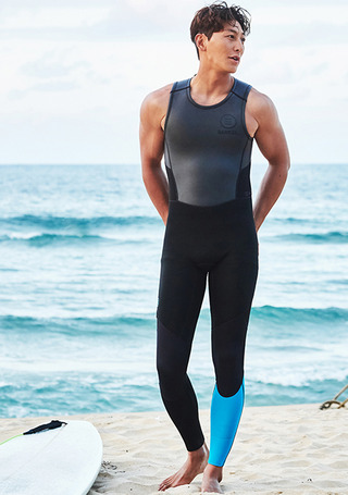 [5%쿠폰] 배럴 맨 네오프렌 2mm 스프링 슈트  #NB6768B1 / BLACK/AQUA BLUE BARREL_ NEOPRENE 2MM SPRING SUIT