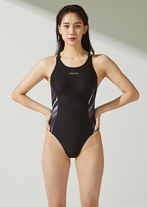 [5%쿠폰]배럴 우먼 트레이닝 Y 백 패턴 스윔슈트 BARREL WMS TRAINING Y BACK PATTERN SWIMSUIT_BWHWSWO006_BLACK/BLACK LEAF_NB6894BK
