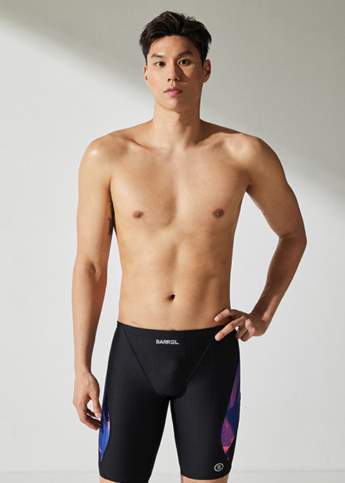 [5%쿠폰]배럴 맨 트레이닝 핏 재머 콤비 스윔슈트 BARREL TRAINING FIT JAMMER SWIMSUIT_BWHMSWB006_BLACK/GEOMETRICPINK_OB6812BN