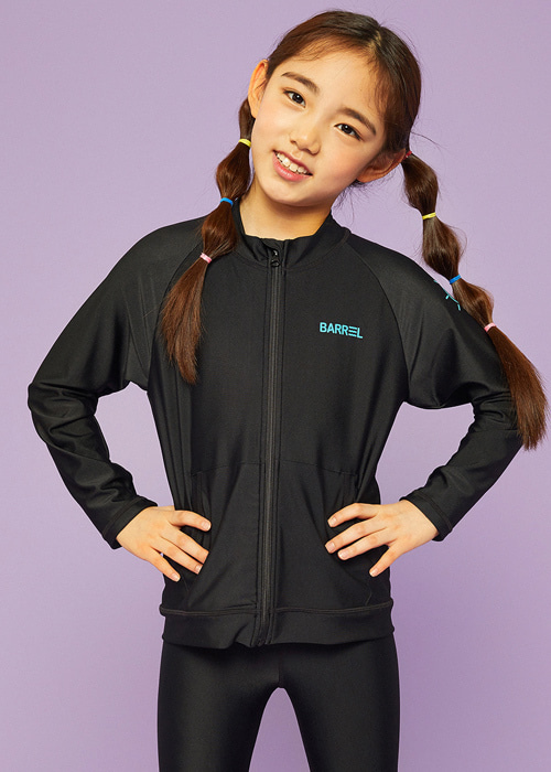 [5%쿠폰]배럴 키즈 집업 래쉬가드 BARREL KIDS ZIP UP RASHGUARD_BWIKRGT002_BLACK_NB6912BK [C002]