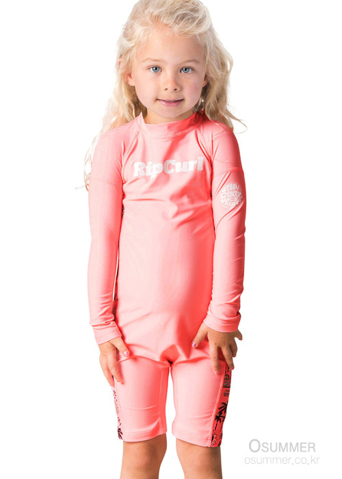 립컬 키즈 전신 래쉬가드/RIPCURL GIRLS MINI LS UV SPRINGSUITS(WLY8DF)_0165 (PEACH)_NRC901PE/SYRC901PE