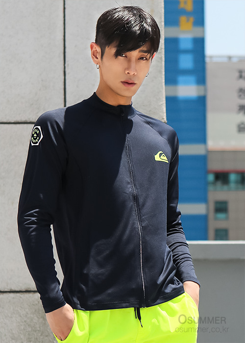 퀵실버 남성 집업 래쉬가드/QUIKSILVER ONE DAY5 ZIP-UP REGULAR FIT KQS201-01-NAVY_NQS001NV_QA11RZ116/S7QS001NV