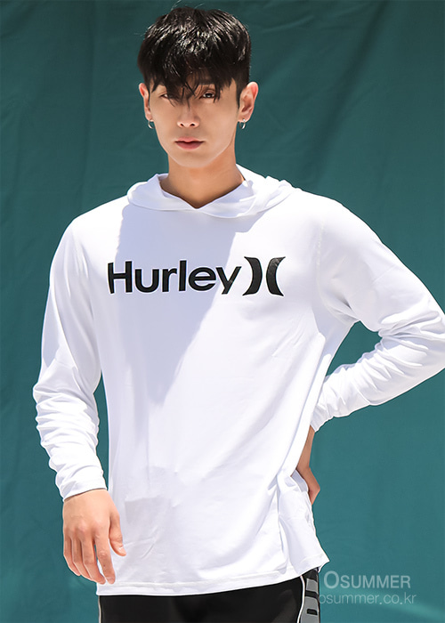 헐리 남성 루즈핏 후디 래쉬가드/HURLEY ONE & ONLY SURF SHIRT HOODED LONG SLEEVE CJ6754-(100) WHITE_NHU003WH/S7HU003WH