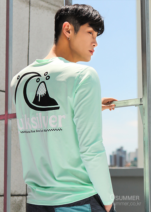 퀵실버 남성 루즈핏 래쉬가드/QUIKSILVER BUBBLE2 LS KQS201-05-BEACH GLASS_NQS003DJ_QA21RS120/S7QS003DJ